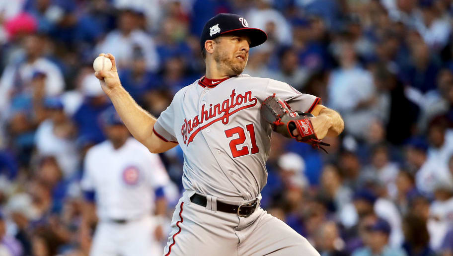 CHICAGO, IL - OCTOBER 09:  Brandon Kintzler #21 of the Washington Nationals pitches in the eighth inning against the Chicago Cubs during game three of the National League Division Series at Wrigley Field on October 9, 2017 in Chicago, Illinois. (Photo by Jonathan Daniel/Getty Images)