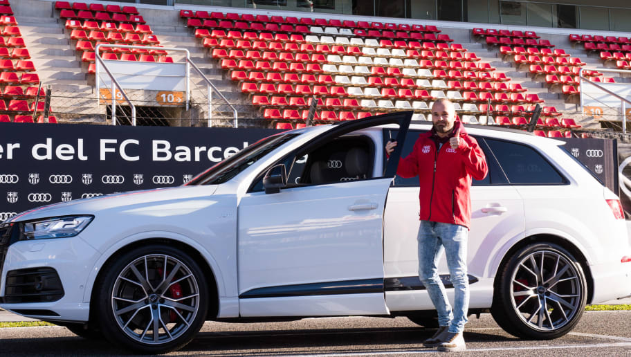 MONTMELO, SPAIN - NOVEMBER 30: Andres Iniesta of FC Barcelona is presented with his new Audi car during the Audi Car handover to the players of FC Barcelona on November 30, 2017 at Circuit de Barcelona-Catalunya in Montmelo, near Barcelona, Spain. (Photo by Alex Caparros/Getty Images for AUDI)