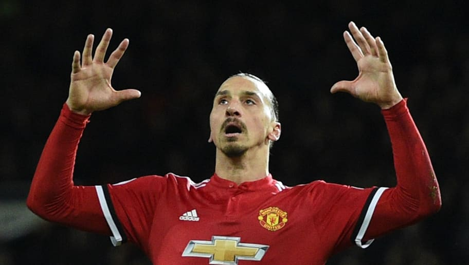 Manchester United's Swedish striker Zlatan Ibrahimovic reacts after shooting wide during the English Premier League football match between Manchester United and Brighton and Hove Albion at Old Trafford in Manchester, north west England, on November 25, 2017. / AFP PHOTO / Oli SCARFF / RESTRICTED TO EDITORIAL USE. No use with unauthorized audio, video, data, fixture lists, club/league logos or 'live' services. Online in-match use limited to 75 images, no video emulation. No use in betting, games or single club/league/player publications.  /         (Photo credit should read OLI SCARFF/AFP/Getty Images)