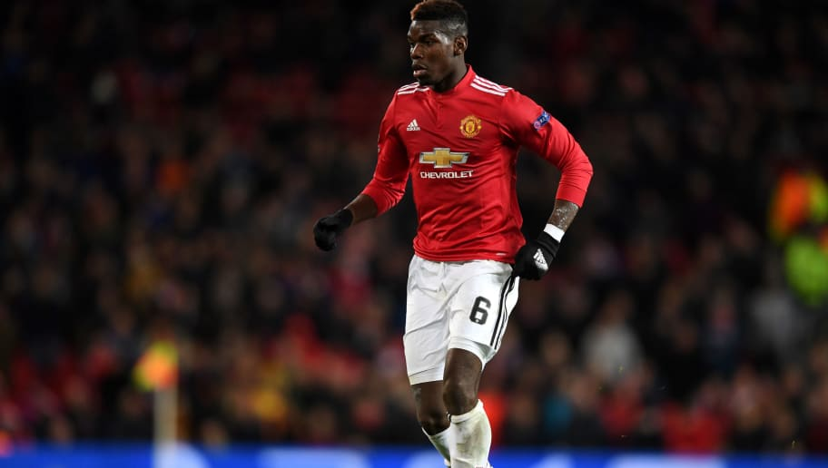 MANCHESTER, ENGLAND - DECEMBER 05:  Paul Pogba of Manchester United during the UEFA Champions League group A match between Manchester United and CSKA Moskva at Old Trafford on December 5, 2017 in Manchester, United Kingdom.  (Photo by Gareth Copley/Getty Images)