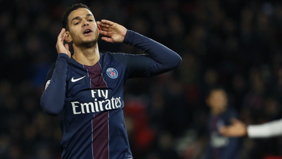 Paris Saint-Germain's French forward Hatem Ben Arfa gestures during the French L1 football match between Paris Saint-Germain (PSG) and Lille (LOSC) on February 7, 2017 at the Parc des Princes stadium in Paris. / AFP / THOMAS SAMSON        (Photo credit should read THOMAS SAMSON/AFP/Getty Images)