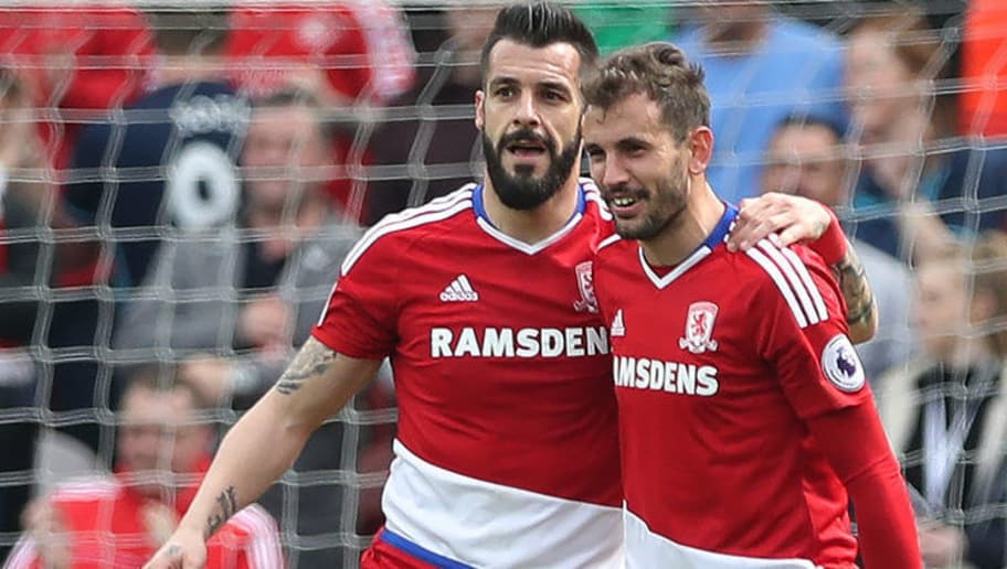 MIDDLESBROUGH, ENGLAND - APRIL 30:  Alvaro Negredo of Middlesborough celebrates after he scores the opening goal during the Premier League match between Middlesbourgh and Manchester City at Riverside Stadium on April 30, 2017 in Middlesbrough, England. (Photo by Ian MacNicol/Getty Images)
