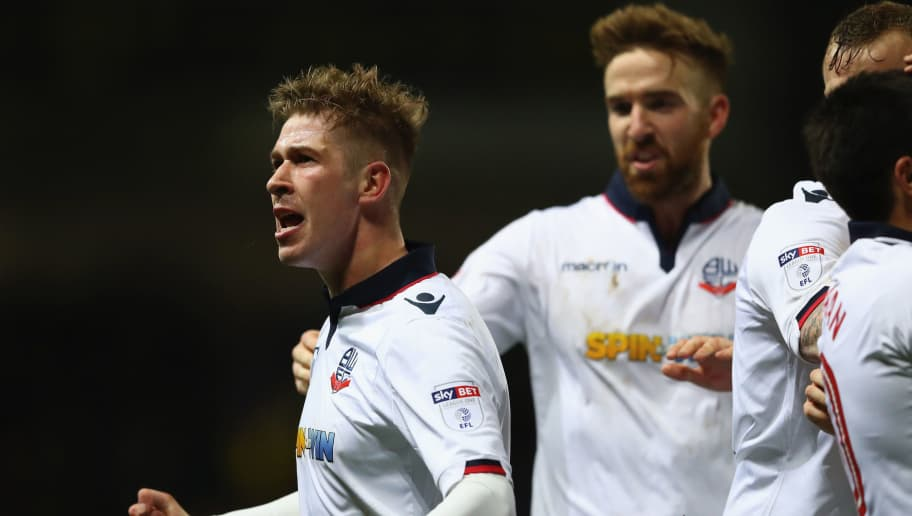OXFORD, ENGLAND - MARCH 21:  Josh Vela of Bolton celebrates scoring his sides fourth goal during the Sky Bet League One match between Oxford United and Bolton Wanderers at the Kassam Stadium on March 21, 2017 in Oxford, England.  (Photo by Michael Steele/Getty Images)