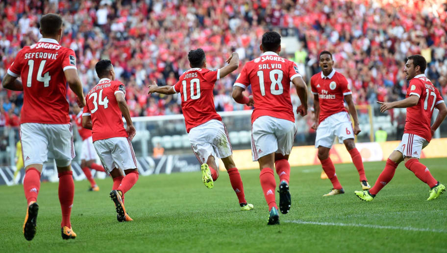 Benfica's Brazilian forward Jonas (3L) celebrates after scoring a goal during the Portuguese league football match Boavista FC vs SL Benfica at the Estadio do Bessa XXI stadium in Porto on September 16, 2017. / AFP PHOTO / FRANCISCO LEONG        (Photo credit should read FRANCISCO LEONG/AFP/Getty Images)