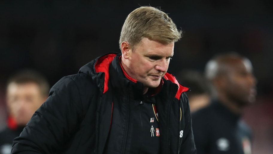 BOURNEMOUTH, ENGLAND - DECEMBER 17:  Eddie Howe, Manager of AFC Bournemouth look dejected after the Premier League match between AFC Bournemouth and Liverpool at Vitality Stadium on December 17, 2017 in Bournemouth, England.  (Photo by Catherine Ivill/Getty Images)