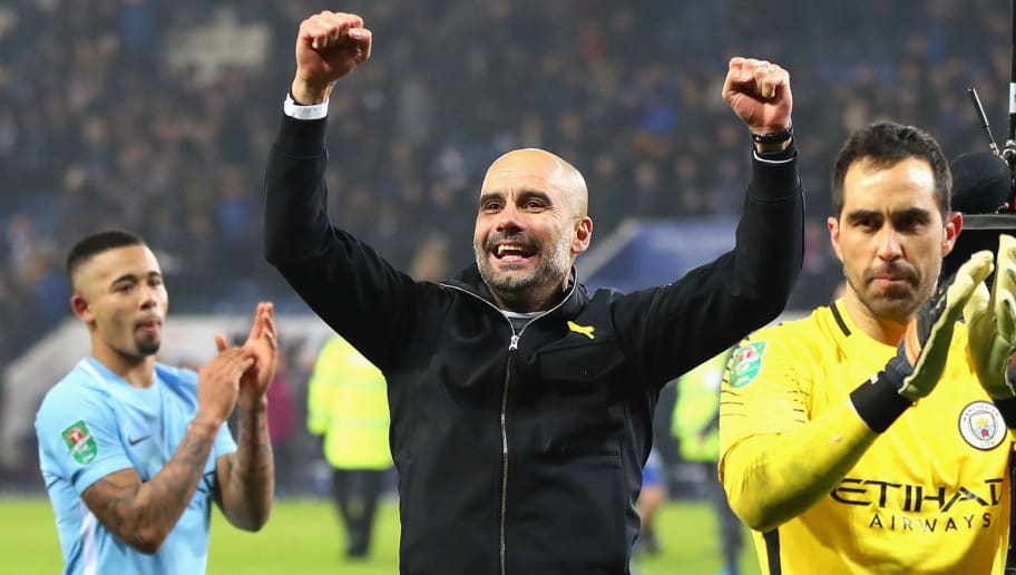 LEICESTER, ENGLAND - DECEMBER 19:  Claudio Bravo of Manchester City and Josep Guardiola, Manager of Manchester City celebrate penalty shoot out victory after the Carabao Cup Quarter-Final match between Leicester City and Manchester City at The King Power Stadium on December 19, 2017 in Leicester, England.  (Photo by Catherine Ivill/Getty Images)