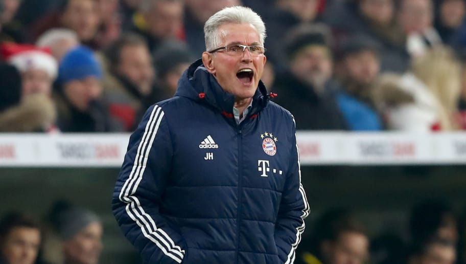 MUNICH, GERMANY - DECEMBER 20:  Jupp Heynckes, head coach of FC Bayern Muenchen reacts during the DFB Cup match between Bayern Muenchen and Borussia Dortmund at Allianz Arena on December 20, 2017 in Munich, Germany.  (Photo by Alexander Hassenstein/Bongarts/Getty Images)
