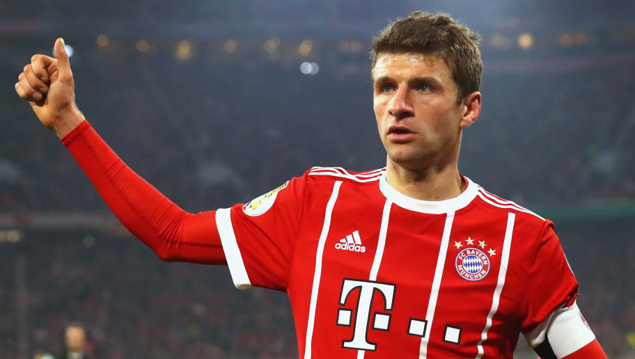 MUNICH, GERMANY - DECEMBER 20:  Thomas Mueller of FC Bayern Muenchen reacts during the DFB Cup match between Bayern Muenchen and Borussia Dortmund at Allianz Arena on December 20, 2017 in Munich, Germany.  (Photo by Alexander Hassenstein/Bongarts/Getty Images)