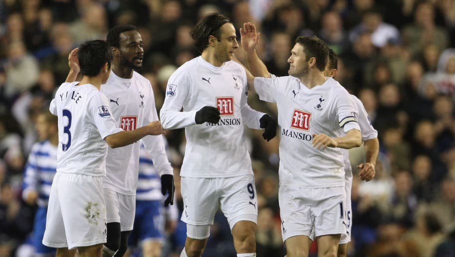 LONDON - DECEMBER 29:  Dimitar Berbatov (C) of Spurs is congratulated by teammates during the Barclays Premier League match between Tottenham Hotspur and Reading at White Hart Lane on December 29, 2007 in London, England.  (Photo by Phil Cole/Getty Images)