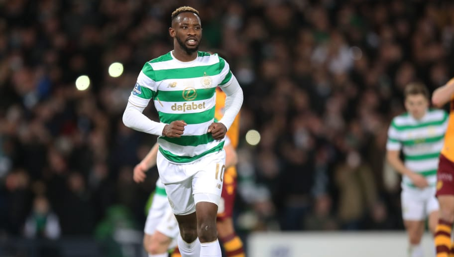 GLASGOW, SCOTLAND - NOVEMBER 26: Moussa Dembele celebrates his goal score Celtics 2nd,during the Betfred Cup Final at Hampden Park on November 26, 2017 in Glasgow, Scotland. (Photo by Steve  Welsh/Getty Images)