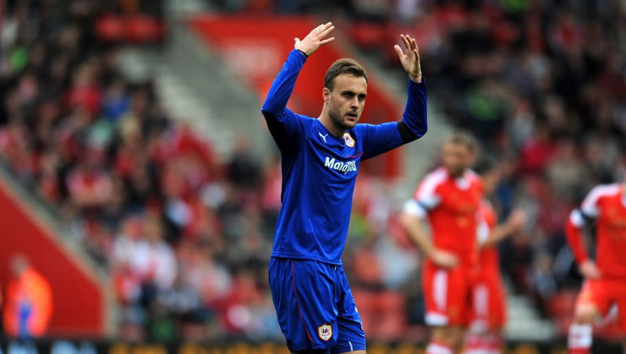 SOUTHAMPTON, ENGLAND - APRIL 12:  Juan Cala of Cardiff celebrates after scoring the opening goal during the Barclays Premier League match between Southampton and Cardiff City at St Mary's Stadium on April 12, 2014 in Southampton, England.  (Photo by Steve Bardens/Getty Images)