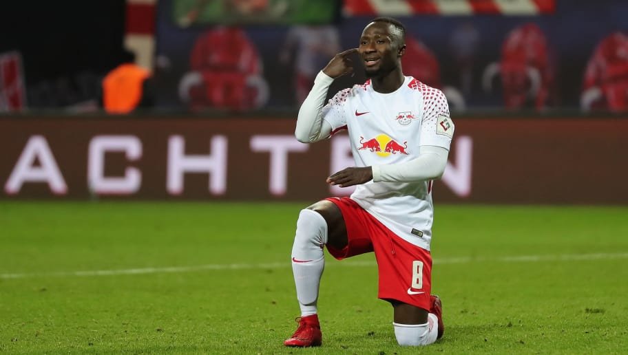 LEIPZIG, GERMANY - DECEMBER 17: Naby Keita of RB Leipzig reacts during the Bundesliga match between RB Leipzig and Hertha BSC at Red Bull Arena on December 17, 2017 in Leipzig, Germany.  (Photo by Boris Streubel/Bongarts/Getty Images)