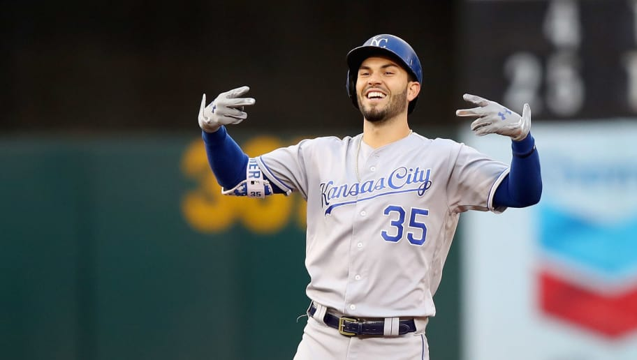 OAKLAND, CA - AUGUST 15:  Eric Hosmer #35 of the Kansas City Royals reacts after hitting a double against the Oakland Athletics at Oakland Alameda Coliseum on August 15, 2017 in Oakland, California.  (Photo by Ezra Shaw/Getty Images)