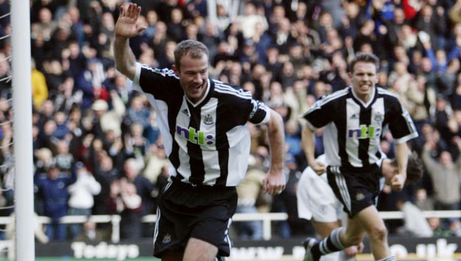 2 Feb 2002:  Alan Shearer of Newcastle United celebrates scoring a goal during the FA Barclaycard Premiership match between Newcastle United and Bolton Wanderers played at St James Park, in Newcastle, England. Newcastle United won the match 3-2. DIGITALIMAGE.  \ Mandatory Credit: Gary M.Prior/Getty Images