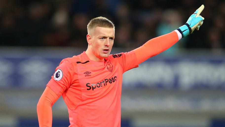 9a6e606035f LIVERPOOL, ENGLAND - NOVEMBER 29: Jordan Pickford of Everton reacts during  the Premier League