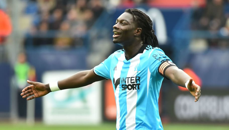 Marseille's French forward Bafetimbi Gomis reacts during the French L1 football match Caen (SMC) vs Marseille (OM) on April 30, 2017 at the Michel-d'Ornano stadium, in Caen, northwestern France.  / AFP PHOTO / JEAN-FRANCOIS MONIER        (Photo credit should read JEAN-FRANCOIS MONIER/AFP/Getty Images)