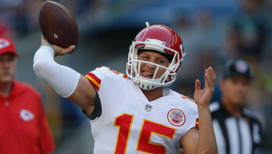 SEATTLE, WA - AUGUST 25:  Quarterback Patrick Mahomes #15 of the Kansas City Chiefs warms up prior to the game against the Seattle Seahawks at CenturyLink Field on August 25, 2017 in Seattle, Washington.  (Photo by Otto Greule Jr/Getty Images)
