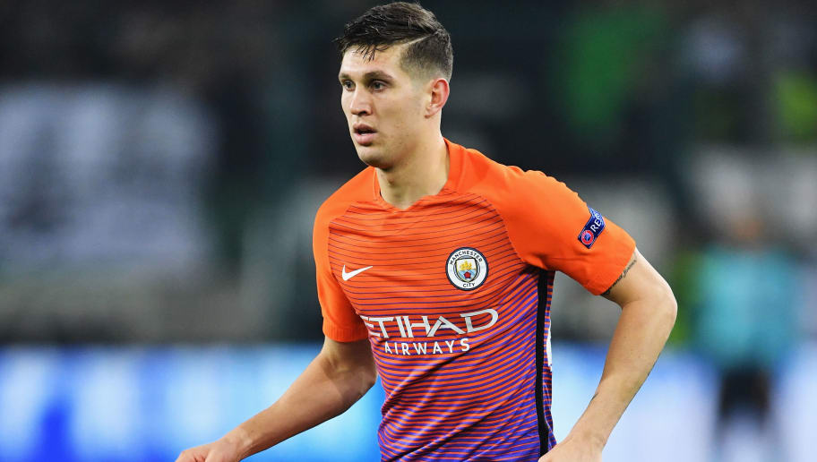 MOENCHENGLADBACH, GERMANY - NOVEMBER 23:  John Stones of Manchester City in action during the UEFA Champions League match between VfL Borussia Moenchengladbach and Manchester City FC at Borussia-Park on November 23, 2016 in Moenchengladbach, North Rhine-Westphalia.  (Photo by Stuart Franklin/Bongarts/Getty Images,)
