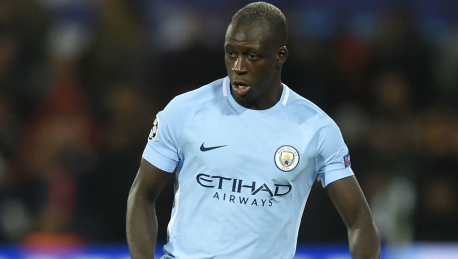 Manchester City's French defender Benjamin Mendy controls the ball  during the UEFA Champions League Group F football match between Feyenoord Rotterdam and Manchester City at the Feyenoord Stadium in Rotterdam, on September 13, 2017. / AFP PHOTO / JOHN THYS        (Photo credit should read JOHN THYS/AFP/Getty Images)