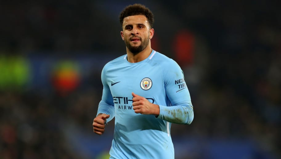 LEICESTER, ENGLAND - DECEMBER 19: Kyle Walker of Manchester City during the Carabao Cup Quarter-Final match between Leicester City and Manchester City at The King Power Stadium on December 19, 2017 in Leicester, England. (Photo by Catherine Ivill/Getty Images)