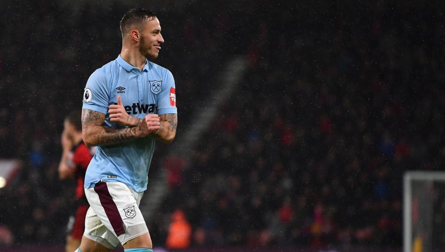 BOURNEMOUTH, ENGLAND - DECEMBER 26:  Marko Arnautovic of West Ham United celebrates scoring his sides second goal during the Premier League match between AFC Bournemouth and West Ham United at Vitality Stadium on December 26, 2017 in Bournemouth, England.  (Photo by Dan Mullan/Getty Images)