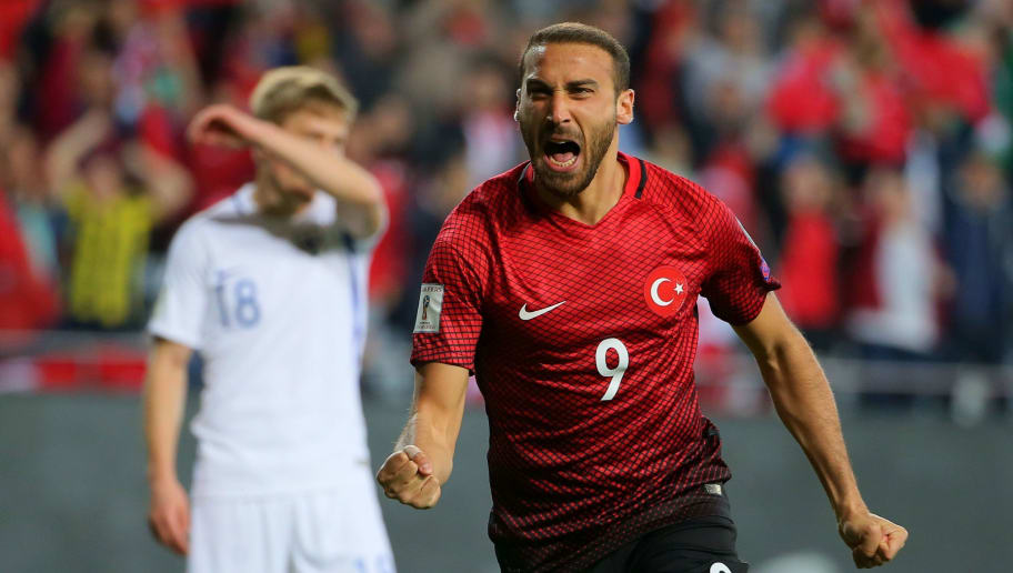 Turkey's forward Cenk Tosun celebrates after scoring a goal during the Fifa World Cup 2018 qualifying football match Turkey vs Finland on March 24, 2017 at Antalya arena stadium in Antalya.  / AFP PHOTO / STR        (Photo credit should read STR/AFP/Getty Images)