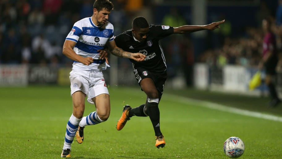 LONDON, ENGLAND - SEPTEMBER 29:  Pawel Wszolek of Queens Park Rangers and Ryan Sessegnon of Fulham battle for possession during the Sky Bet Championship match between Queens Park Rangers and Fulham at Loftus Road on September 29, 2017 in London, England.  (Photo by James Chance/Getty Images)