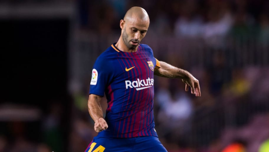 BARCELONA, SPAIN - AUGUST 07: Javier Mascherano of FC Barcelona plays the ball during the Joan Gamper Trophy match between FC Barcelona and Chapecoense at Camp Nou stadium on August 7, 2017 in Barcelona, Spain. (Photo by Alex Caparros/Getty Images)