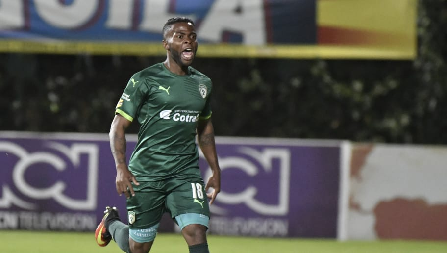 BOGOTA, COLOMBIA - OCTOBER 30:  Yuber Asprilla of La Equidad celebrates after scoring the second goal of his team during a match between Millonarios and La Equidad as part of round 18 of Liga Aguila II 2016 at Metropolitano de Techo Stadium on October 30, 2016 in Bogota, Colombia. (Photo by Gabriel Aponte/LatinContent/Getty Images)