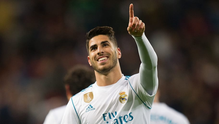 MADRID, SPAIN - NOVEMBER 05: Marco Asensio of Real Madrid CF celebrates after scoring his teamÕs 2nd goal during the La Liga match between Real Madrid and Las Palmas at Estadio Santiago Bernabeu on November 5, 2017 in Madrid, Spain. (Photo by Denis Doyle/Getty Images)