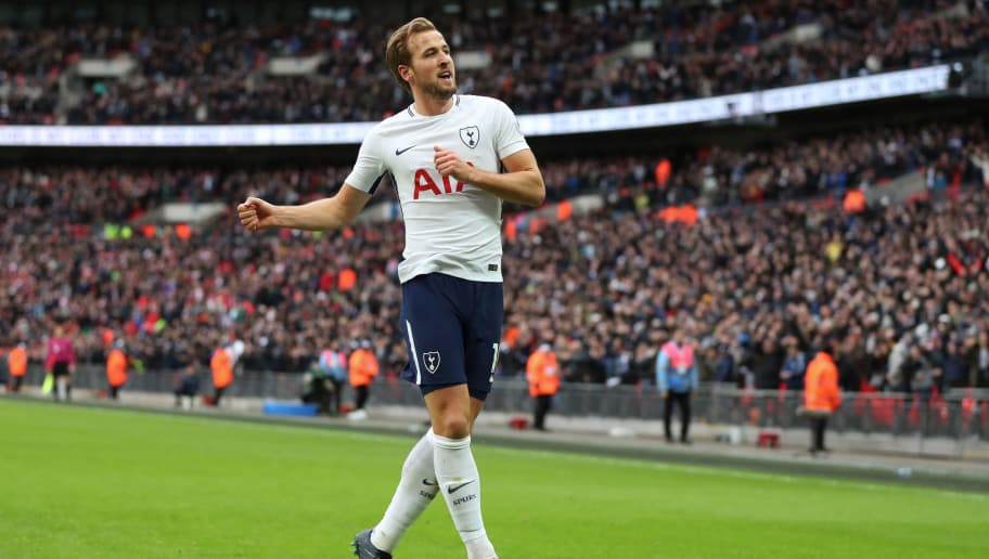 fe76a087e LONDON, ENGLAND - DECEMBER 26: Harry Kane of Tottenham Hotspur celebrates  after scoring his
