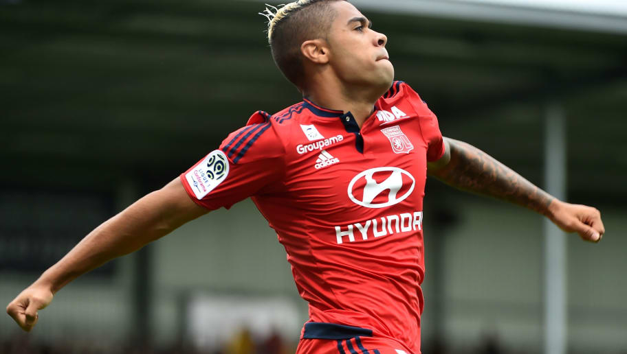 Lyon's Spanish forward Mariano Diaz (R) reacts after scoring a goal during  the French L1 football match between Angers (SCO) and Lyon (Olympique Lyonnais), on October 1, 2017 at the Raymond-Kopa stadium, in Angers, northwestern France. / AFP PHOTO / JEAN-FRANCOIS MONIER        (Photo credit should read JEAN-FRANCOIS MONIER/AFP/Getty Images)