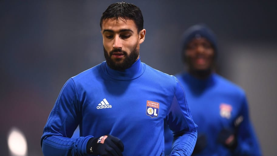 Lyon's French forward Nabil Fekir warms up before the UEFA Europa League group E football match Atalanta vs Olympique Lyonnais at The Mapei Stadium in Reggio Emilia on December 7, 2017.   / AFP PHOTO / MARCO BERTORELLO        (Photo credit should read MARCO BERTORELLO/AFP/Getty Images)