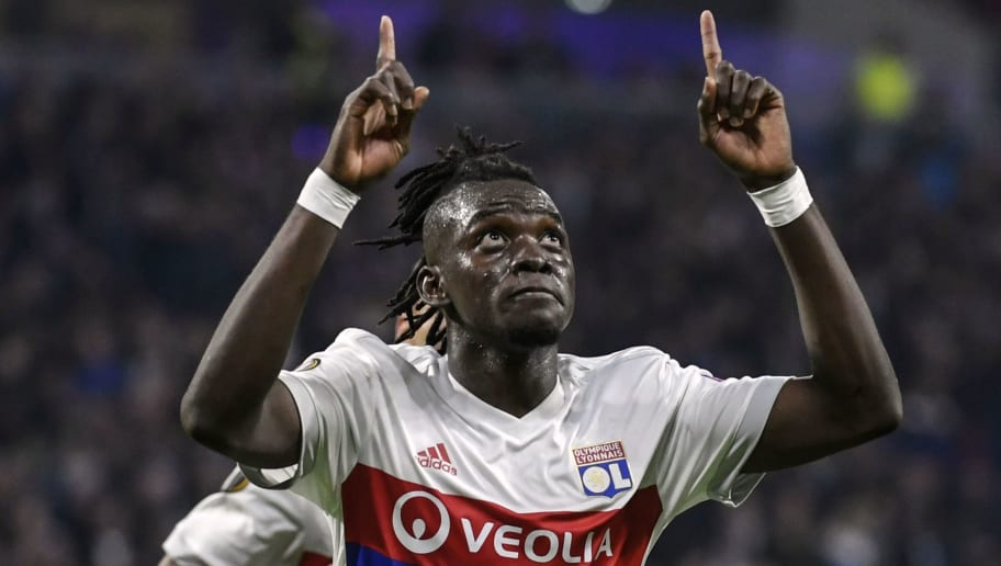 Lyon's Burkinabe forward Bertrand Traore celebrates after scoring a goal during the Europa League (C3) football match Olympique Lyonnais (OL) versus Everton FC on November 2, 2017 at the Groupama Stadium in Decines-Charpieu, central-eastern France.  / AFP PHOTO / JEFF PACHOUD        (Photo credit should read JEFF PACHOUD/AFP/Getty Images)