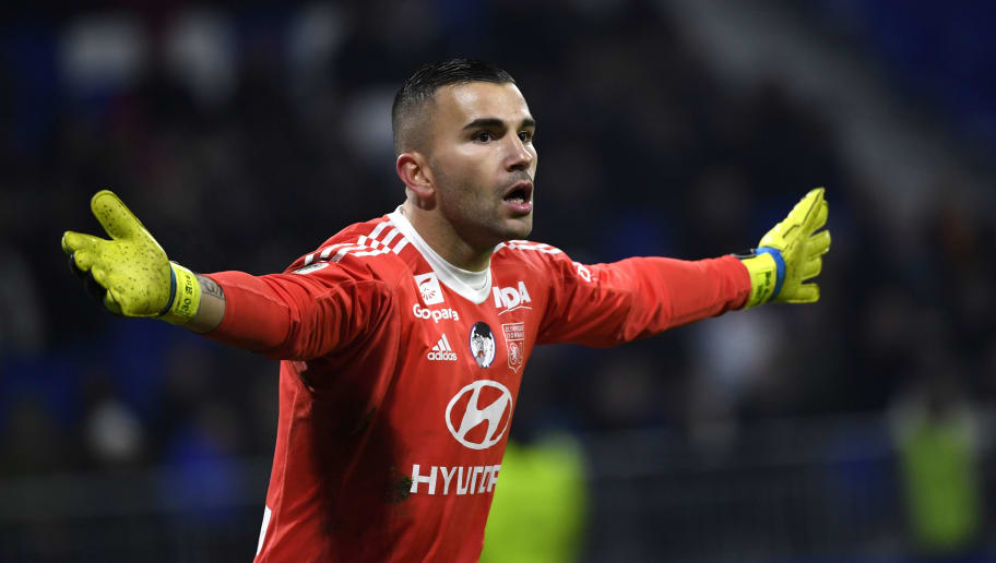 Lyon's Portuguese goalkeeper Anthony Lopes reacts during the French L1 football match between Lyon (OL) and Marseille (OM) on December 17, 2017, at the Groupama stadium in Decines-Charpieu near Lyon, central-eastern France. / AFP PHOTO / ROMAIN LAFABREGUE        (Photo credit should read ROMAIN LAFABREGUE/AFP/Getty Images)