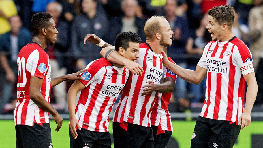 Eindhoven's Hirving Lozano (2ndL) celebrates with teammates after scoring during their Eredivisie soccer match Eindhoven (PSV) versus Alkmaar Zaanstreek (AZ) on August 12, 2017 in Eindhoven, in the Netherlands. / AFP PHOTO / ANP / Olaf KRAAK / Netherlands OUT - Belgium OUT        (Photo credit should read OLAF KRAAK/AFP/Getty Images)