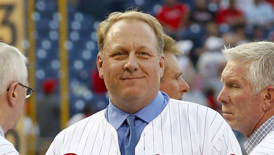 PHILADELPHIA - AUGUST 2: Former Philadelphia Phillie Curt Schilling smiles during his induction ceremony into the Phillies 'Wall of Fame' before a game against the Atlanta Braves at Citizens Bank Park on August 2, 2013 in Philadelphia, Pennsylvania. The Braves won 6-4. (Photo by Hunter Martin/Getty Images)