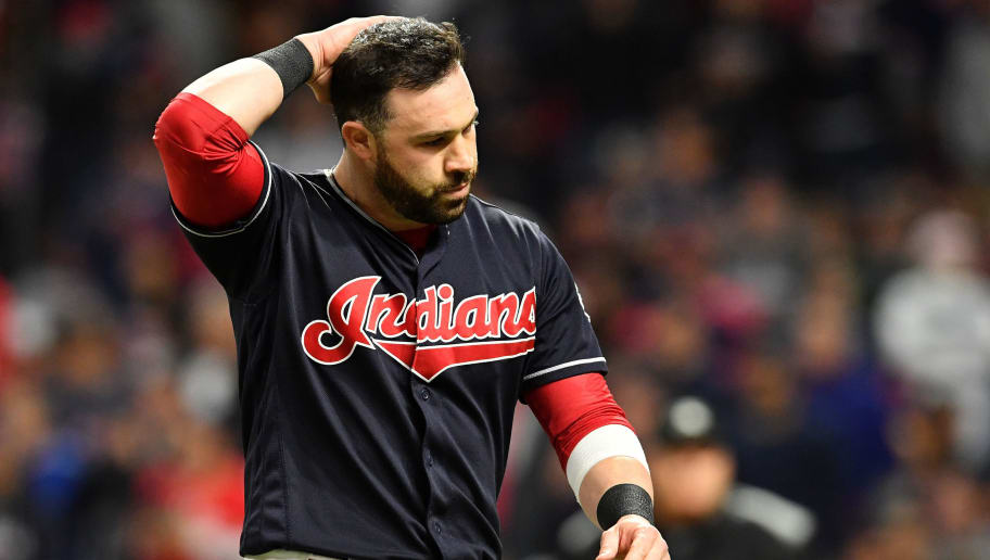 CLEVELAND, OH - OCTOBER 11:  Jason Kipnis #22 of the Cleveland Indians reacts after striking out to end the eighth inning against the New York Yankees in Game Five of the American League Divisional Series at Progressive Field on October 11, 2017 in Cleveland, Ohio.  (Photo by Jason Miller/Getty Images)