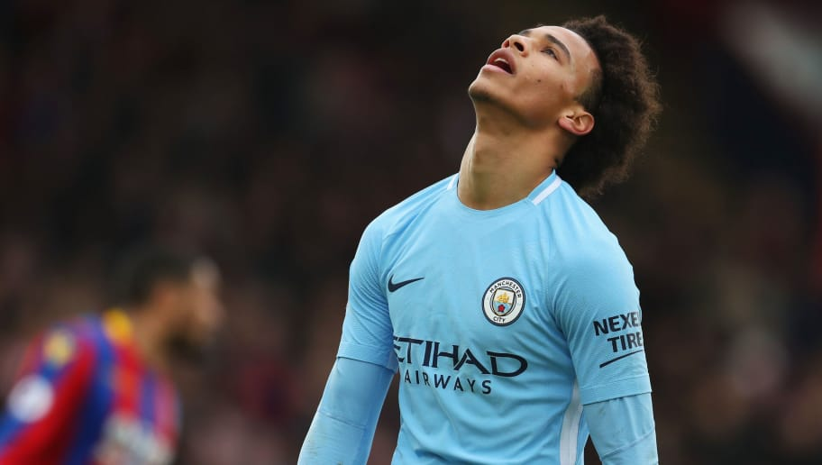LONDON, ENGLAND - DECEMBER 31:  Leroy Sane of Manchester City reacts  during the Premier League match between Crystal Palace and Manchester City at Selhurst Park on December 31, 2017 in London, England.  (Photo by Catherine Ivill/Getty Images)