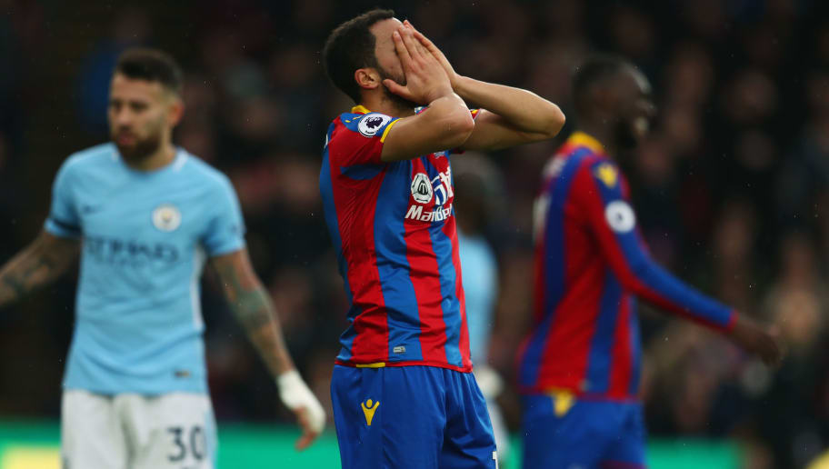 LONDON, ENGLAND - DECEMBER 31:  Andros Townsend of Crystal Palace reacts after a miss during the Premier League match between Crystal Palace and Manchester City at Selhurst Park on December 31, 2017 in London, England.  (Photo by Catherine Ivill/Getty Images)