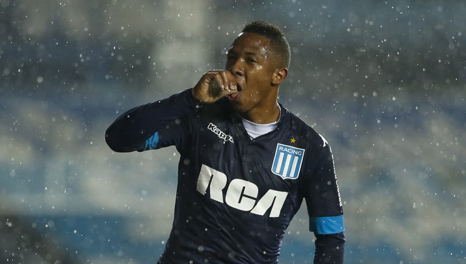 AVELLANEDA, ARGENTINA - SEPTEMBER 09: Andres Ibarguen of Racing Club celebrates after scoring the fourth goal of his team during a match between Racing Club and Temperley as part of the Superliga 2017/2018 on September 09, 2017 in Avellaneda, Argentina.  (Photo by Gabriel Rossi/Getty Images)