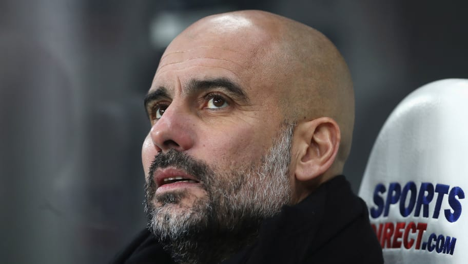 NEWCASTLE UPON TYNE, ENGLAND - DECEMBER 27:  Josep Guardiola, Manager of Manchester City looks on prior to the Premier League match between Newcastle United and Manchester City at St. James' Park on December 27, 2017 in Newcastle upon Tyne, England.  (Photo by Ian MacNicol/Getty Images)