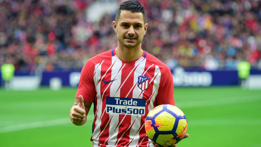 Atletico Madrid's Spanish midfielder Vitolo gives a thumbs-up at the start of a training session following his official presentation at the Wanda Metropolitan Stadium in Madrid on December 31, 2017. / AFP PHOTO / PIERRE-PHILIPPE MARCOU        (Photo credit should read PIERRE-PHILIPPE MARCOU/AFP/Getty Images)