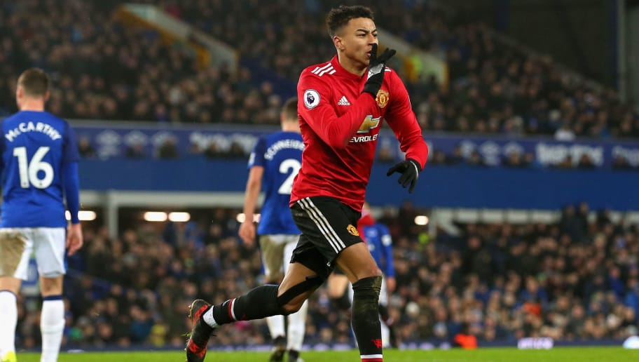 LIVERPOOL, ENGLAND - JANUARY 01:  Jesse Lingard of Manchester United celebrates after he scores his sides second goal during the Premier League match between Everton and Manchester United at Goodison Park on January 1, 2018 in Liverpool, England.  (Photo by Jan Kruger/Getty Images)