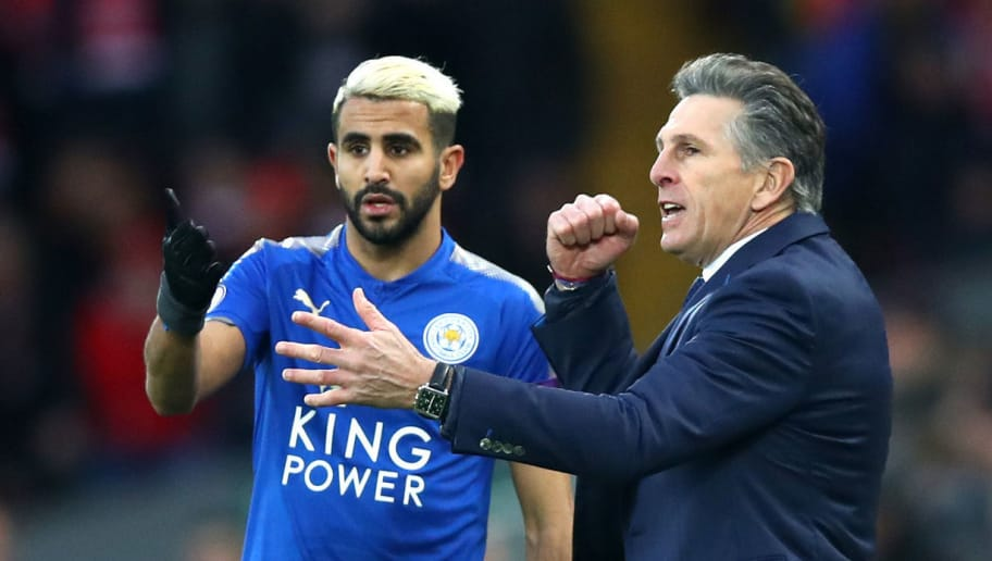 LIVERPOOL, ENGLAND - DECEMBER 30: Claude Puel, Manager of Leicester City gives Riyad Mahrez of Leicester City instructions during the Premier League match between Liverpool and Leicester City at Anfield on December 30, 2017 in Liverpool, England.  (Photo by Clive Brunskill/Getty Images)