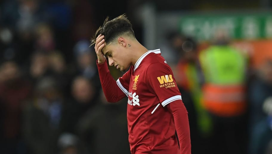 Liverpool's Brazilian midfielder Philippe Coutinho is substituted during the English Premier League football match between Liverpool and Leicester at Anfield in Liverpool, north west England on December 30, 2017. / AFP PHOTO / Paul ELLIS / RESTRICTED TO EDITORIAL USE. No use with unauthorized audio, video, data, fixture lists, club/league logos or 'live' services. Online in-match use limited to 75 images, no video emulation. No use in betting, games or single club/league/player publications.  /         (Photo credit should read PAUL ELLIS/AFP/Getty Images)
