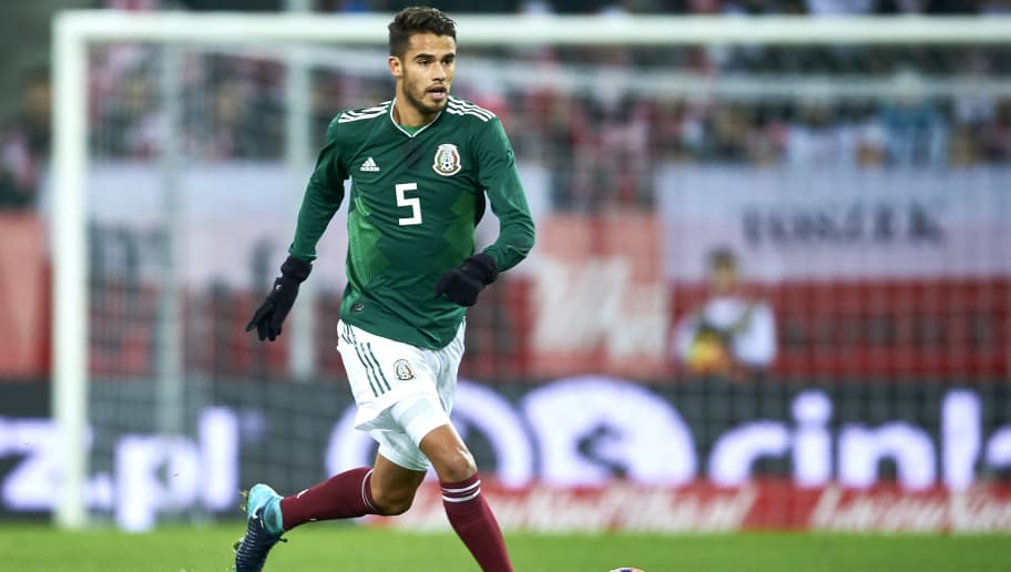 GDANSK, POLAND - NOVEMBER 13: Diego Reyes of Mexico controls the ball 1during the International Friendly match between Poland and Mexico at Energa Arena Stadium on November 13, 2017 in Gdansk, Poland. (Photo by Adam Nurkiewicz/Getty Images)