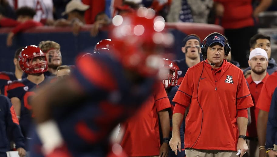 TUCSON, AZ - NOVEMBER 11:  Head coach Rich Rodriguez (R) of the Arizona Wildcats watches from the sidelines during the second half of the college football game against the Oregon State Beavers at Arizona Stadium on November 11, 2017 in Tucson, Arizona.  (Photo by Christian Petersen/Getty Images)