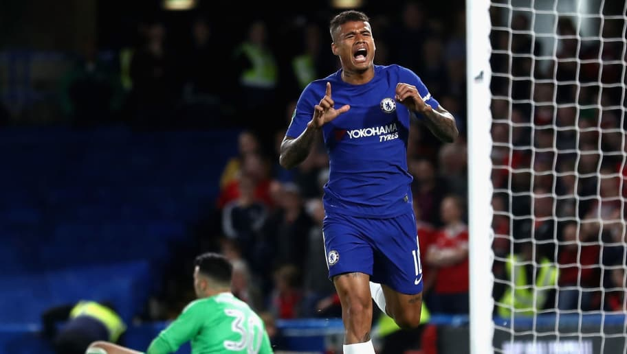 LONDON, ENGLAND - SEPTEMBER 20:  Kenedy of Chelsea celebrates scoring his sides first goal during the Carabao Cup Third Round match between Chelsea and Nottingham Forest at Stamford Bridge on September 19, 2017 in London, England.  (Photo by Bryn Lennon/Getty Images)