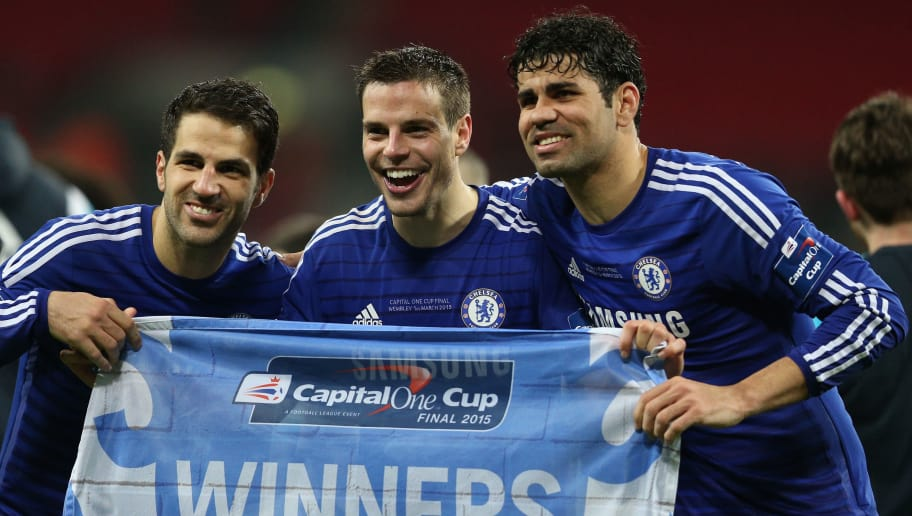 LONDON, ENGLAND - MARCH 01: (L-R) Cesc Fabregas, Cesar Azpilicueta and Diego Costa of Chelsea celebrate during the Capital One Cup Final match between Chelsea and Tottenham Hotspur at Wembley Stadium on March 1, 2015 in London, England.  (Photo by Clive Mason/Getty Images)